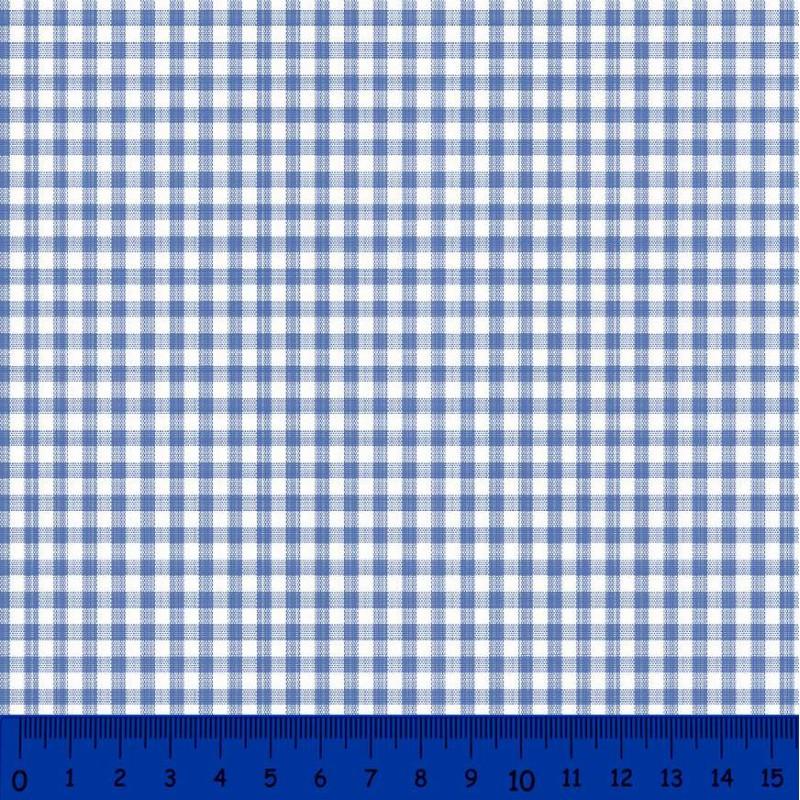 Tricoline Xadrez Fio Tinto - Média - 100% Algodão - Azul royal