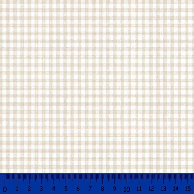 Tricoline Xadrez Fio Tinto - Média - 100% Algodão - Bege