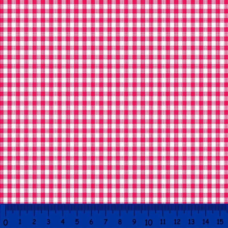 Tricoline Xadrez Fio Tinto - Média - 100% Algodão - Vermelho