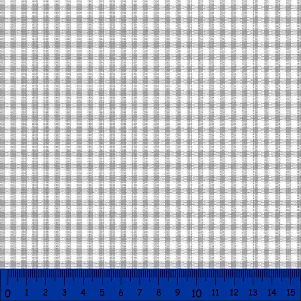 Tricoline Xadrez Fio Tinto - Média - 100% Algodão - Cinza