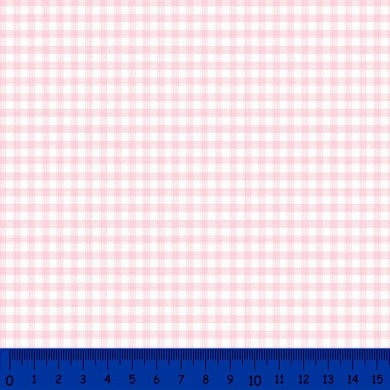 Tricoline Xadrez Fio Tinto - Média - 100% Algodão - Rosa bebê