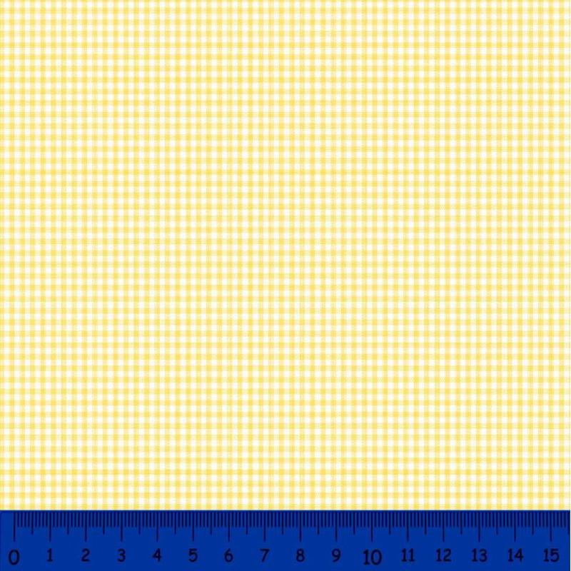 Tricoline Xadrez Fio Tinto - Pequeno - 100% Algodão - Amarelo