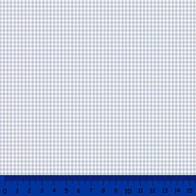 Tricoline Xadrez Fio Tinto - Pequeno - 100% Algodão - Azul bebê