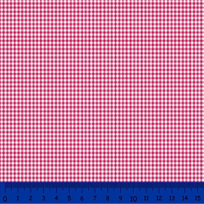 Tricoline Xadrez Fio Tinto - Pequeno - 100% Algodão - Vermelho