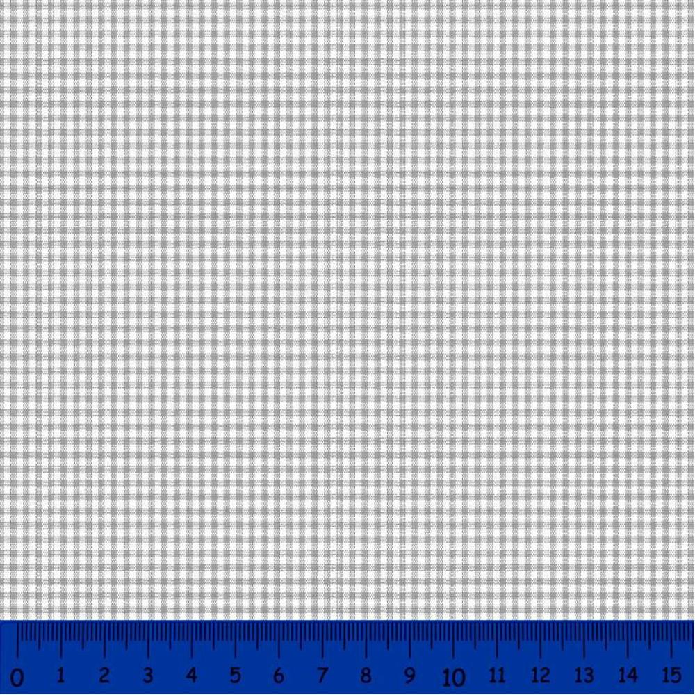 Tricoline Xadrez Fio Tinto - Pequeno - 100% Algodão - Cinza