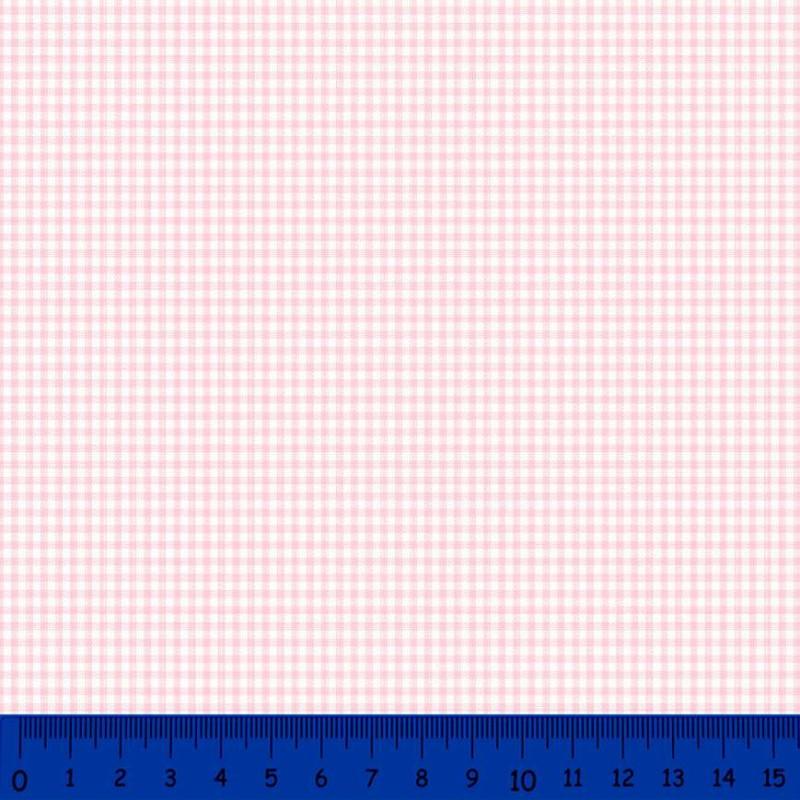 Tricoline Xadrez Fio Tinto - Pequeno - 100% Algodão - Rosa bebê