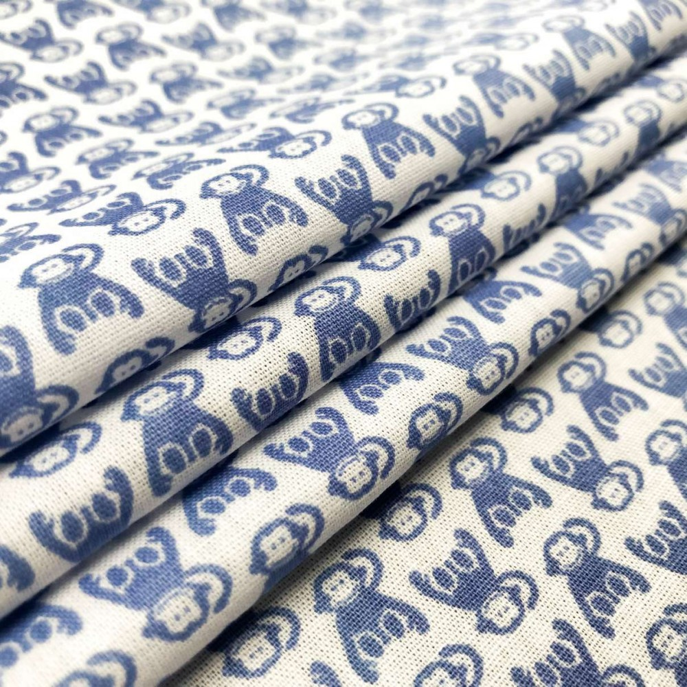Tricoline Estampada - Macaquinho - Promoção - Azul