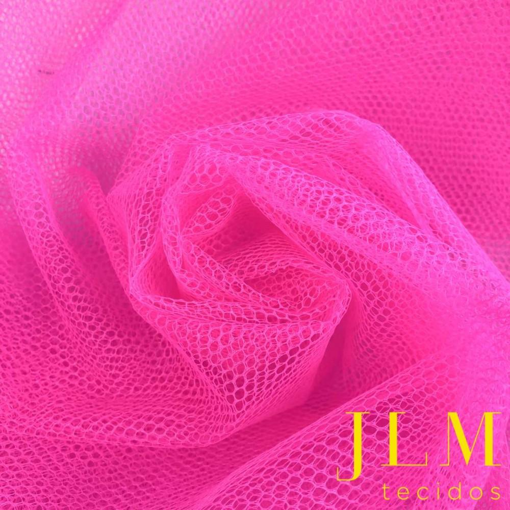 Tule Filó Armado - 100% Poliamida - 3,16m largura - Rosa choque