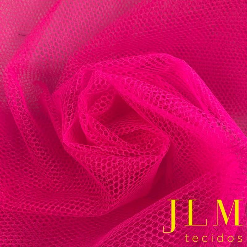 Tule Filó Armado - 100% Poliamida - 3,16m largura - Pink neon